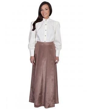 Wahmaker Victorian Style Five Gore Walking Skirt in Chocolate by Scully Leather