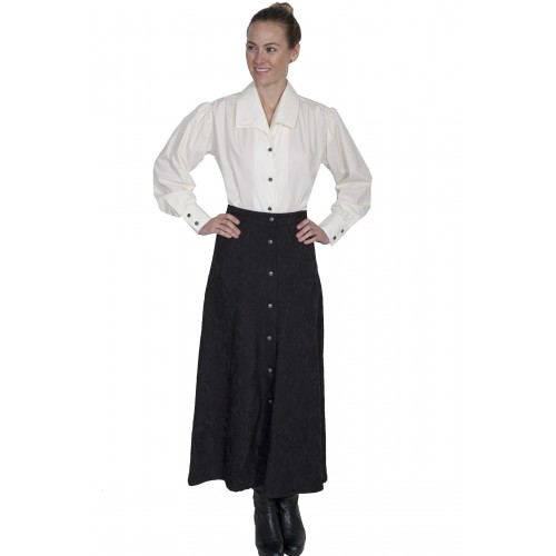 Classic Victorian Style Button Front Skirt in Black