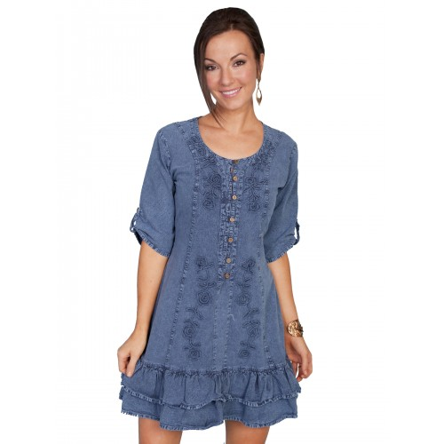 Vintage Style Embroidered Dress in Dark Blue
