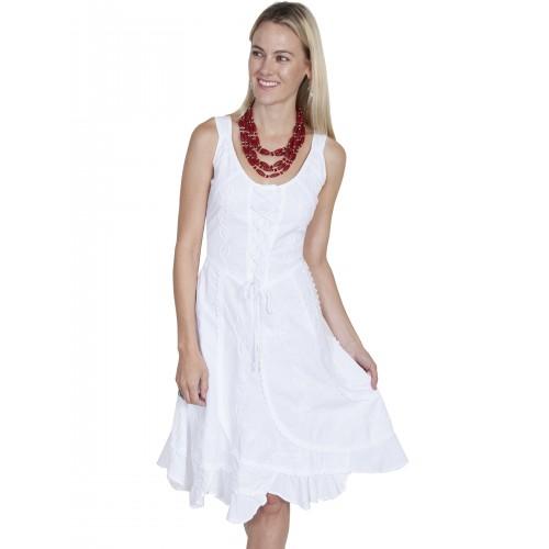 Western Romance Saloon Dress in White