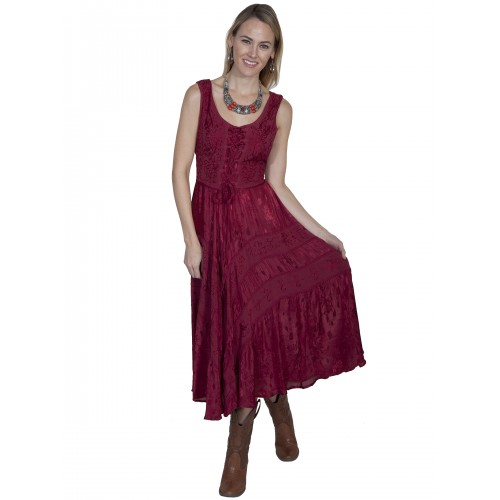 Joey's Canteen Cowgirl Dress in Burgundy