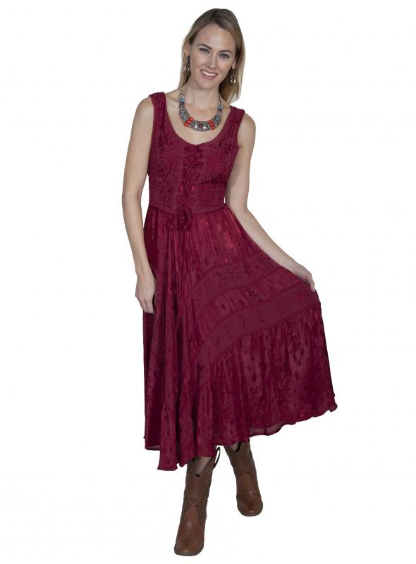 Honey Creek Joey's Canteen Cowgirl Dress in Burgundy by Scully Leather