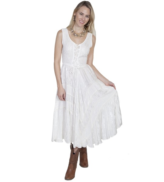Honey Creek Joey's Canteen Cowgirl Dress in Ivory by Scully Leather