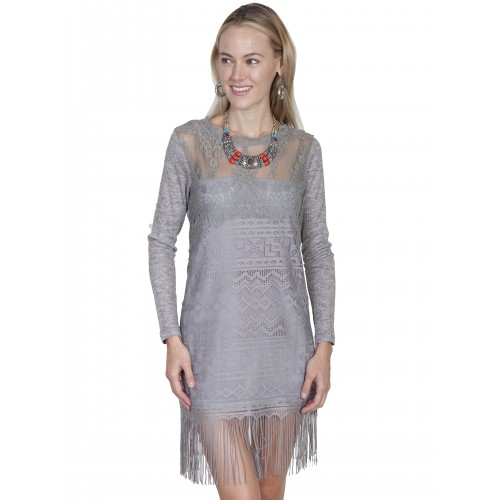 Prairie Lace Bridal Dress in Grey