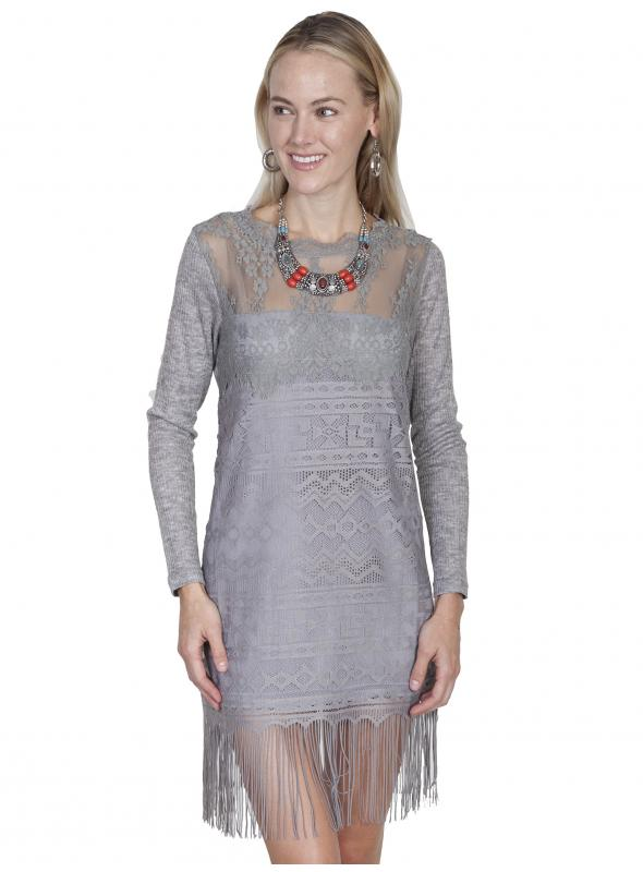Honey Creek Prairie Lace Bridal Dress in Grey by Scully Leather