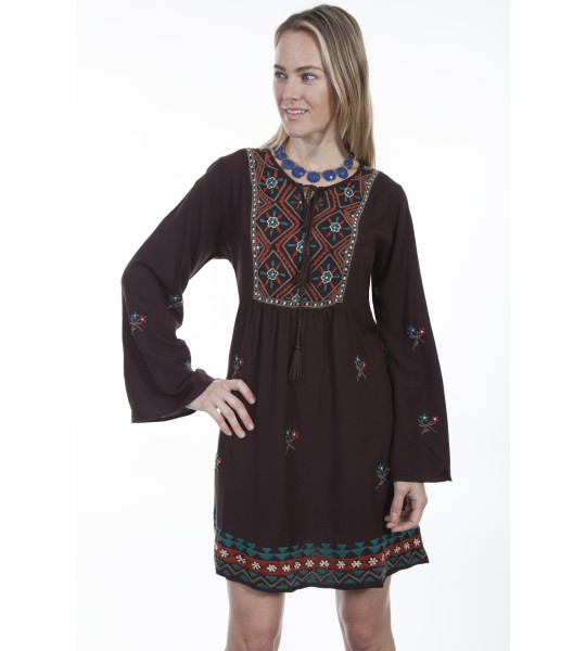 Honey Creek Bohemian Tribal Dress in Chocolate by Scully Leather