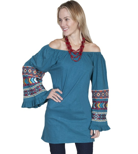 Boho Style Off Shoulder Tunic in Teal by Scully Leather
