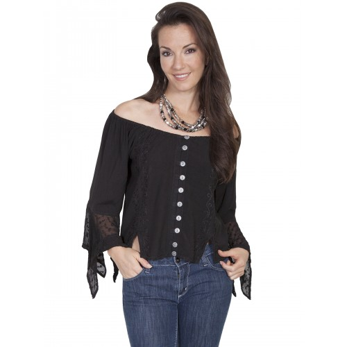 Saloon Off Shoulder Button Up Blouse in Black