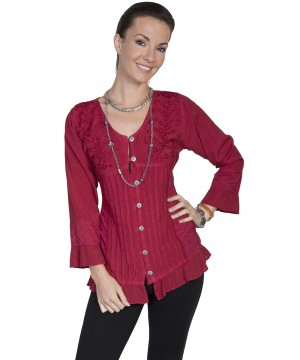 Honey Creek Prairie Ruffled Blouse in Burgundy by Scully Leather