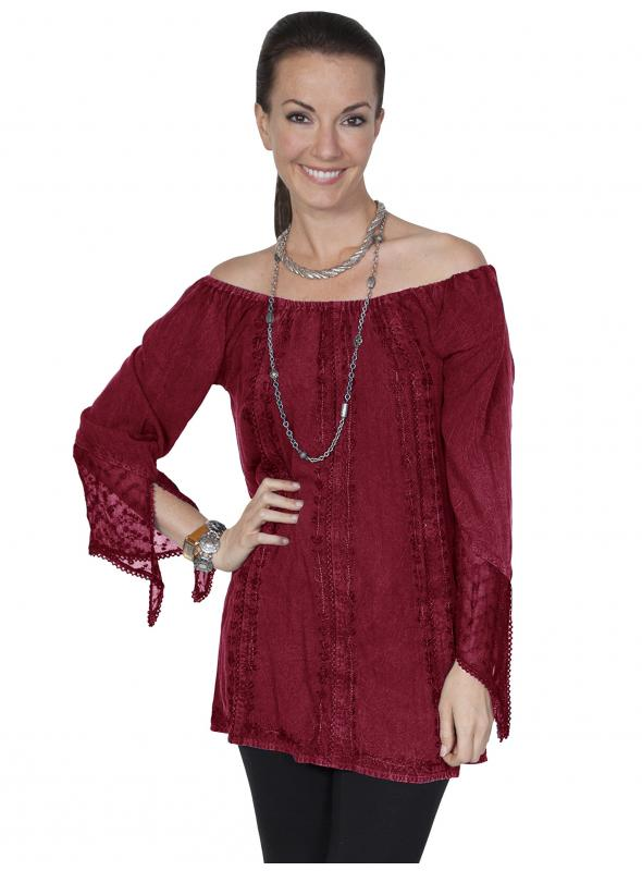 Honey Creek Kansas' Wind Off Shoulder Blouse in Burgundy by Scully Leather