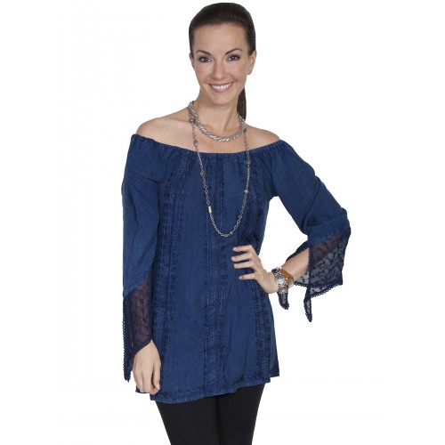 Kansas' Wind Off Shoulder Blouse in Denim