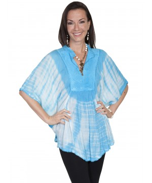 Honey Creek Bohemian Poncho Blouse in Turquoise by Scully Leather