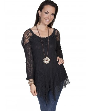 Honey Creek Night-Bloom Lace Beaded Blouse in Black by Scully Leather