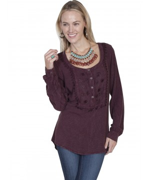 Honey Creek Tavern Hostess Blouse in Aubergine by Scully Leather