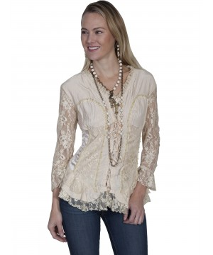 Honey Creek Desert Rider Lace Blouse in Camel by Scully Leather