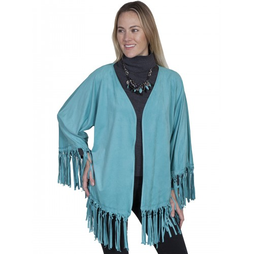 Old West Fringe Wrap in Turquoise