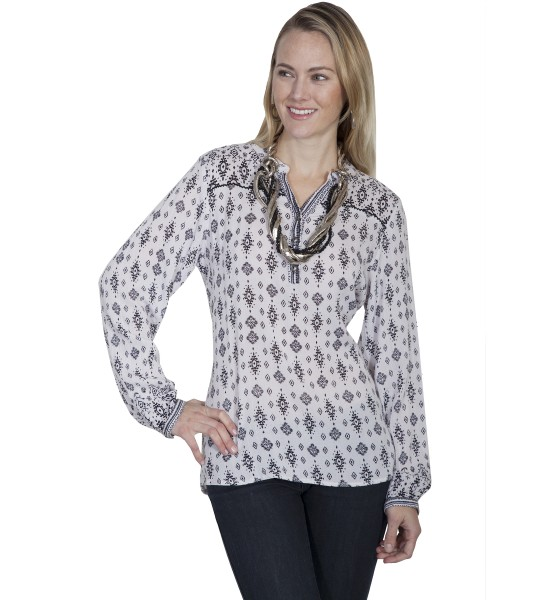 Honey Creek Cowgirl Long Sleeve Blouse in White by Scully Leather