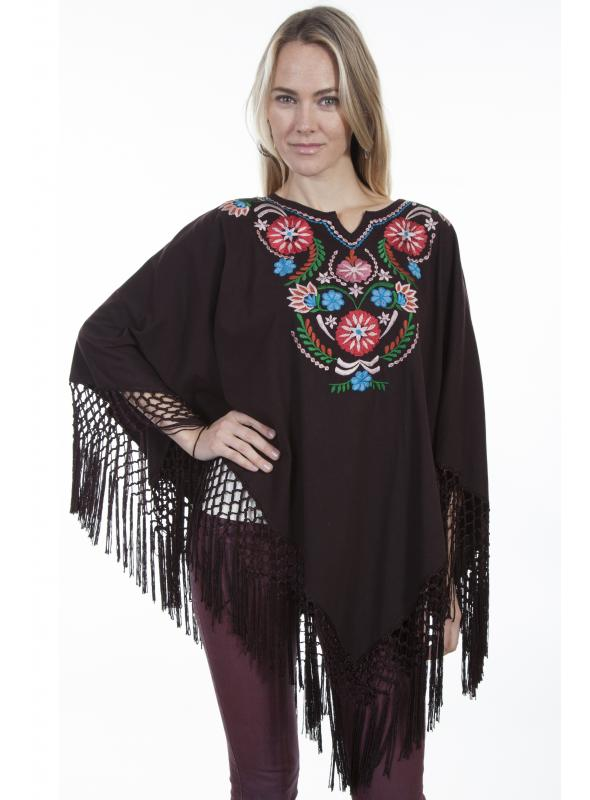 Honey Creek Bohemian Floral Embroidered Poncho in Chocolate by Scully Leather