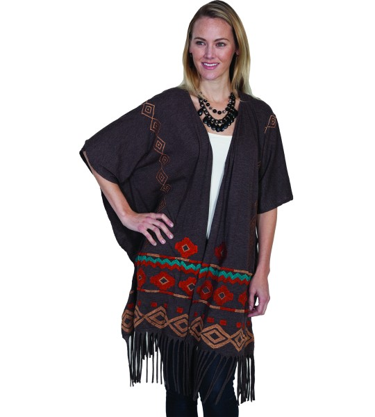 Horse Riding Fringe Embroidered Wrap in Brown by Scully Leather