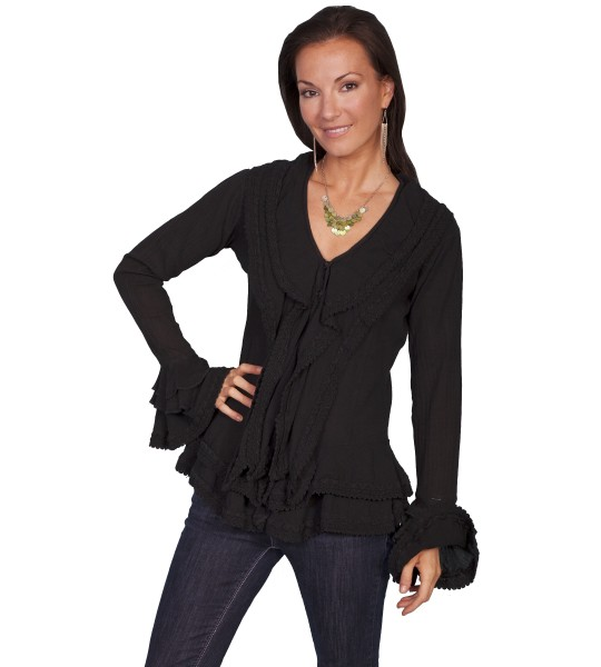 Honey Creek Caribbean Breeze Cotton Blouse in Black by Scully Leather