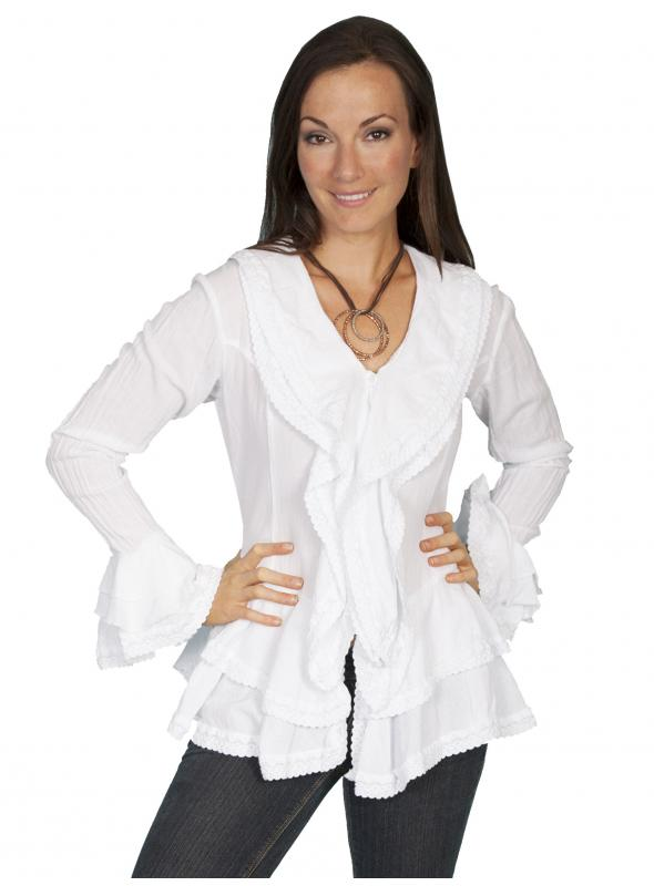 Honey Creek Caribbean Breeze Cotton Blouse in White by Scully Leather