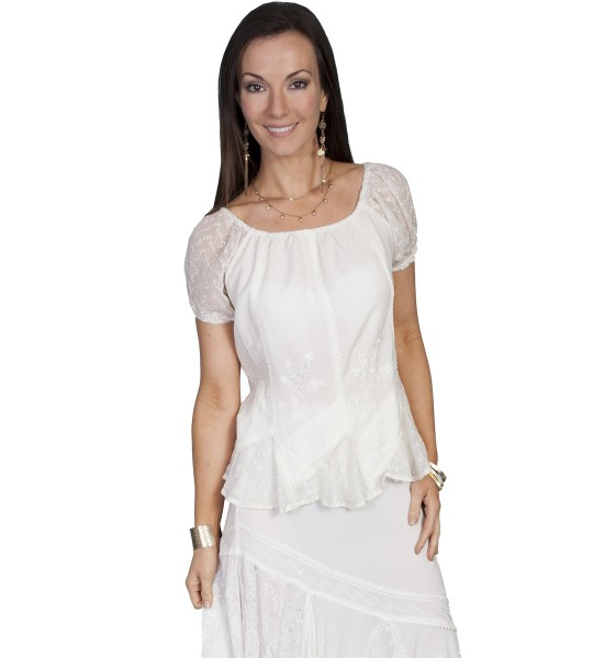 Honey Creek Colorado's Journey Blouse in Ivory by Scully Leather