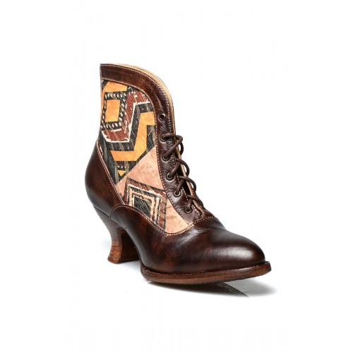 Vintage Style Victorian Lace Up Leather Boots in Brown Rustic