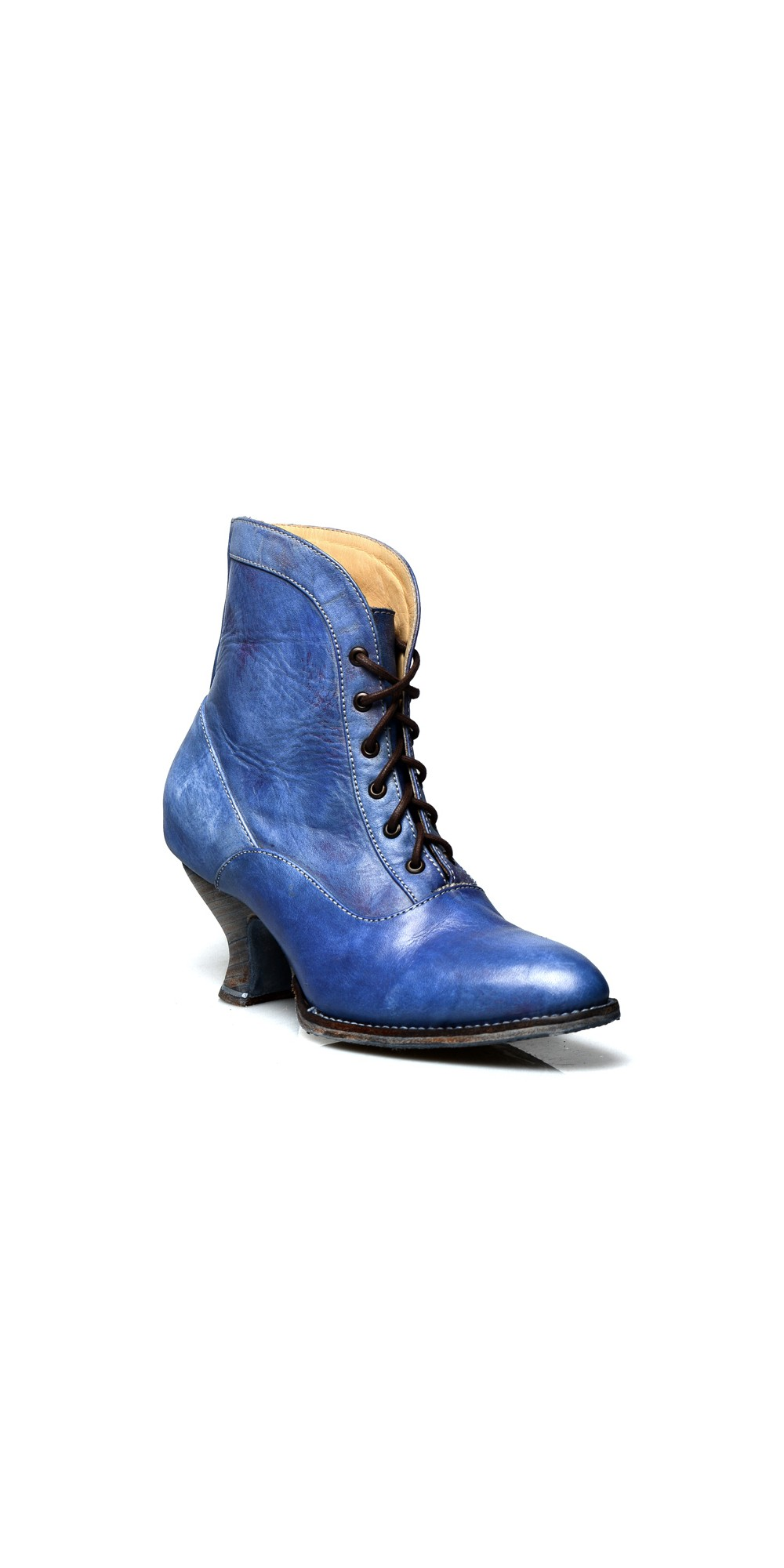 Vintage Style Victorian Lace Up Leather Boots In Steel Blue
