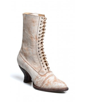 Victorian Mid-Calf Leather Wedding Boots in Nectar Lux by Oak Tree Farms