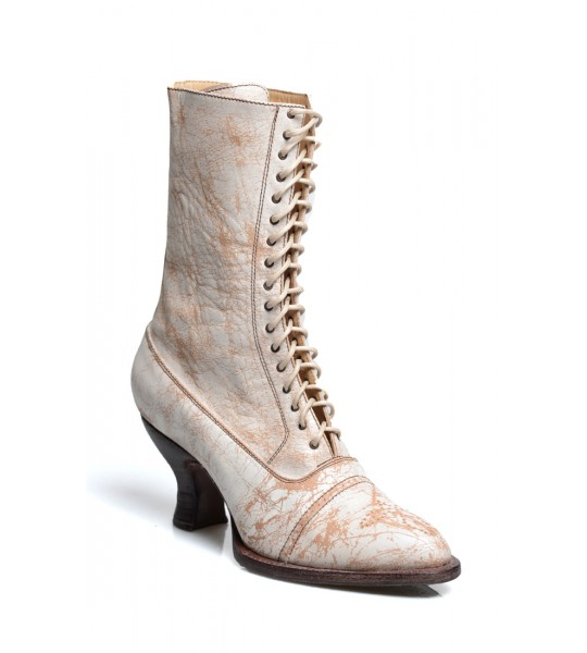 Mirabelle Victorian Mid-Calf Leather Wedding Boots in Nectar Lux by Oak Tree Farms