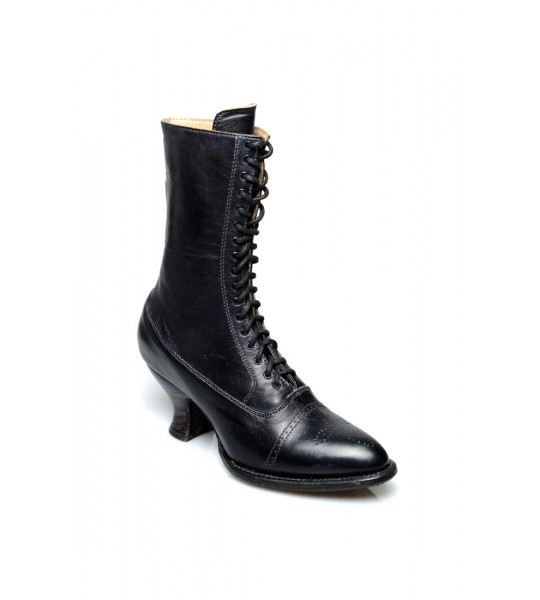 Mirabelle Victorian Mid-Calf Leather Boots in Black Rustic by Oak Tree Farms