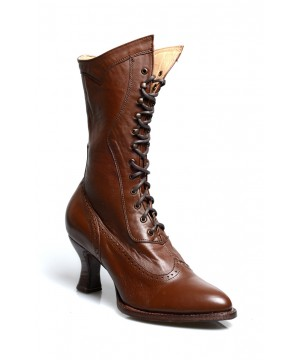 Modern Victorian Lace Up Leather Boots in Cognac