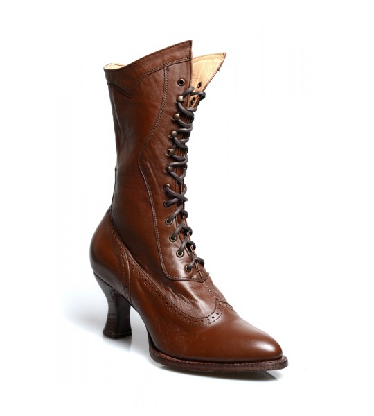 Jasmine Modern Victorian Lace Up Leather Boots in Cognac by Oak Tree Farms