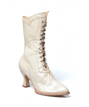 Modern Victorian Lace Up Leather Boots in Pearl