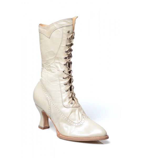 Jasmine Modern Victorian Lace Up Leather Boots in Pearl by Oak Tree Farms
