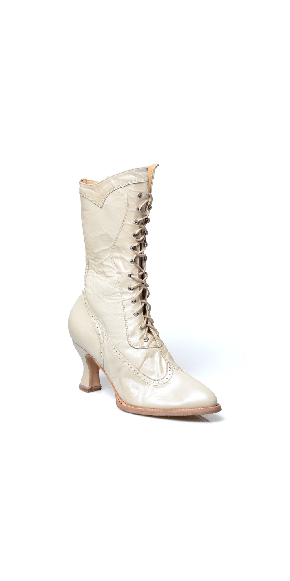 Jasmine Modern Victorian Lace Up Leather Boots In Pearl By