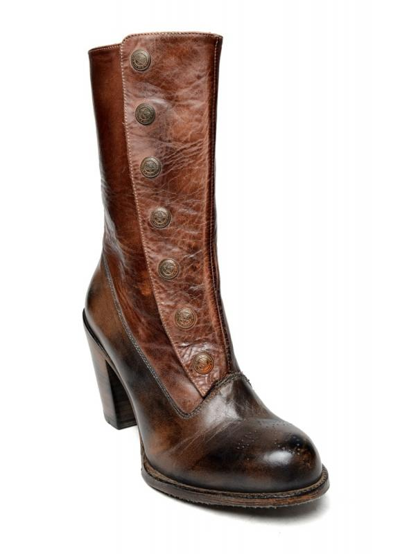 Amelia Steampunk Style Mid-Calf Leather Boots in Black Teak by Oak Tree Farms