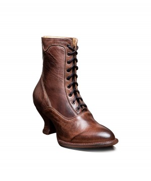 Victorian Inspired Leather Ankle Boots in Teak Rustic by Oak Tree Farms