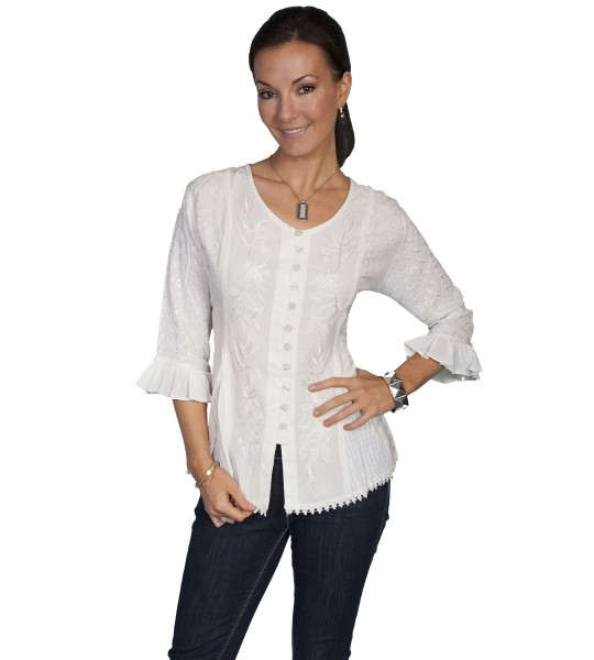 Honey Creek Cowgirl Multi-Fabric Blouse in Ivory by Scully Leather