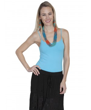 Honey Creek Spring Star Seamless Camisole in Blue by Scully Leather