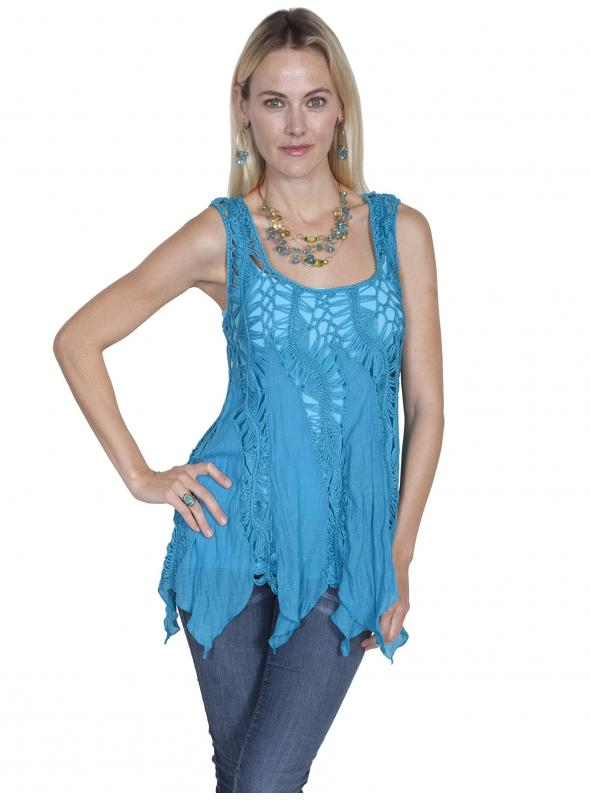 Honey Creek Vintage Inspired Crochet Top in Blue by Scully Leather