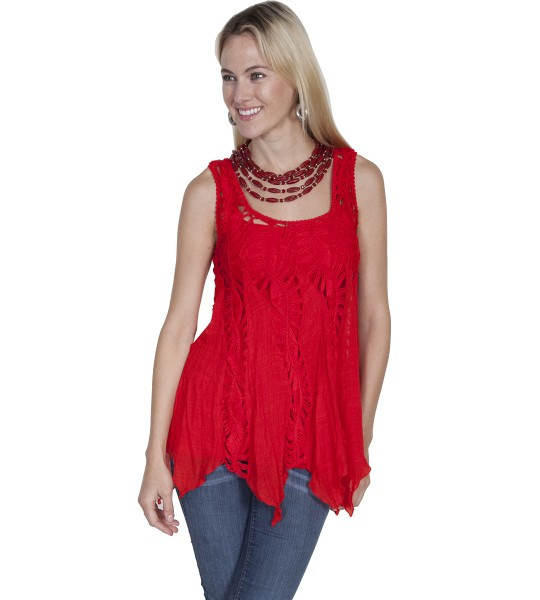 Honey Creek Vintage Inspired Crochet Top in Red by Scully Leather