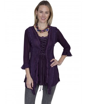 Honey Creek Horse Riding Lace Top in Purple by Scully Leather
