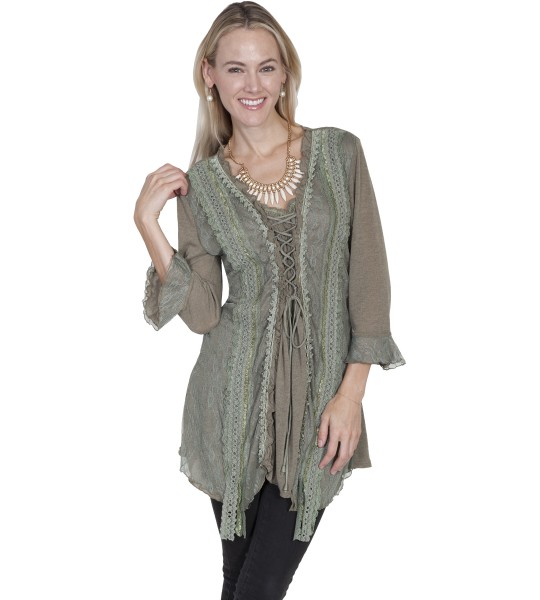 Honey Creek Horse Riding Lace Top in Sage by Scully Leather