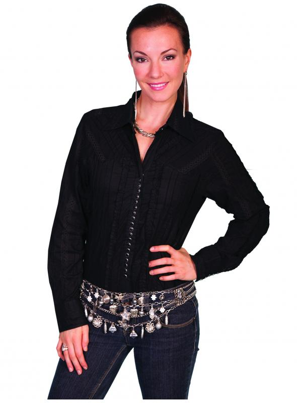 Honey Creek Country Chic Cotton Blouse in Black by Scully Leather