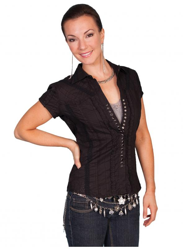 Honey Creek Country Chic Cotton Cap Sleeve Blouse in Black by Scully Leather