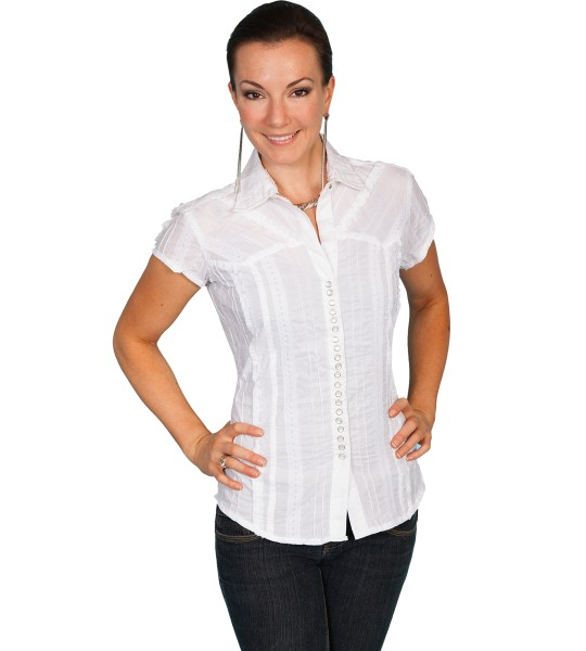 Honey Creek Country Chic Cotton Cap Sleeve Blouse in White by Scully Leather