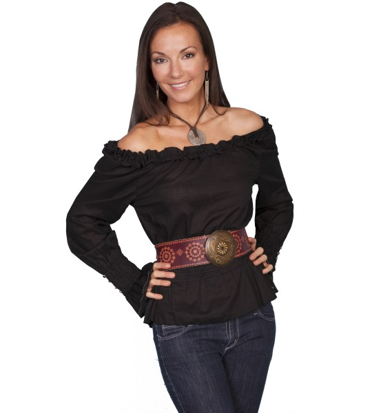 Honey Creek Ranch Style Romantic Peasant Blouse in Black by Scully Leather