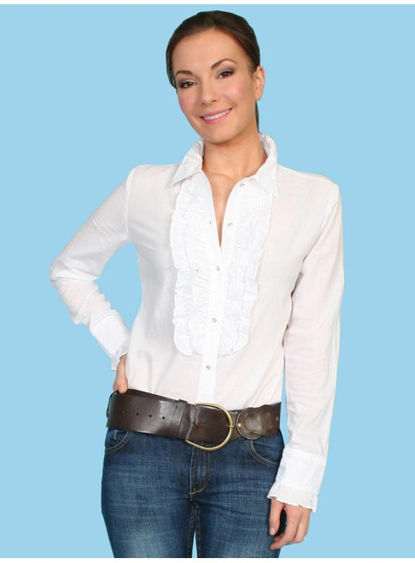 Honey Creek Rustic Style Bridal Blouse in White by Scully Leather