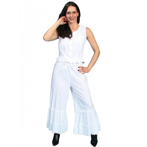 Western Style Ruffled Bloomers in White